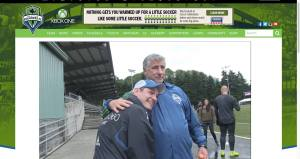 Seattle Sounders FC coach, Sigi Schmid and me at Starfire Sports for the Rave TV show
